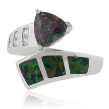 Beautiful Trillion Cut Smoked Topaz and Opal Silver Ring