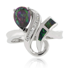 Pear Cut Caribbean Topaz and Green Opal Silver Ring