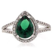 MicroPave Pear Cut Emerald Silver Ring