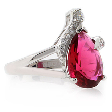Pear Cut Pink Garnet Ring in Sterling Silver