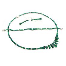 Set de Ópalo Verde con Aretes, Collar y Pulsera en Plata de la Mejor Calidad .950