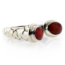 Red Coral Vintage Style Sterling Silver Ring