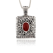 Red Coral Sterling Silver Vintage Pendant