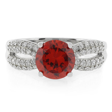 Oval Cut Fire Opal MicroPave .925 Silver Ring