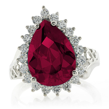 Red Ruby Pear Cut Sterling Silver Ring