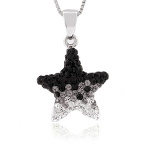 Black and White Star Swarovski Silver Pendant