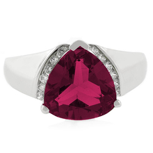 Big Trillion Cut Red Ruby Stone Silver Ring