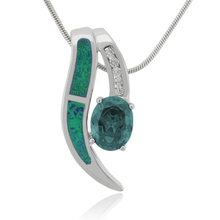 Elegant Oval Cut Alexandrite and Green Opal Pendant in .925 Silver