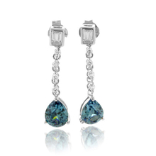 Bluish to Green Alexandrite Drop .925 Silver Earrings