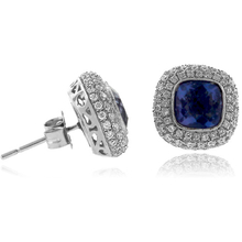 Cushion Cut Corundum Alexandrite MicroPave Silver Earrings