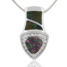 Trilion Cut Mystic Fire Topaz and Australian Opal .925 Silver Pendant
