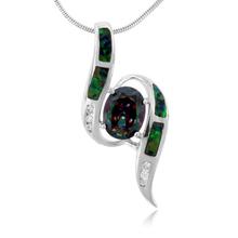 Gorgeous Australian Opal And Caribbean Topaz Silver Pendant