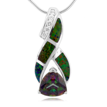 Trillion Cut Topaz with Green Opal Silver Pendant