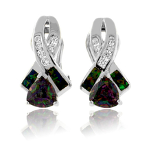 Trillion Cut Mystic Topaz and Green Opal Silver Earrings