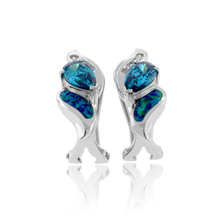 Australian Opal with Alexandrite Silver Earrings with Omega Closure