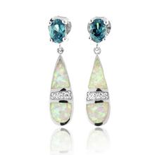 White Australian Opal With Color Change Alexandrite Silver Drop Earrings