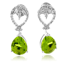 Beautiful Pear Cut Peridot and CZ Silver Earrings