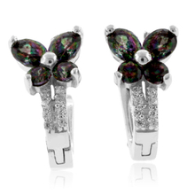 Gorgeous Mystic Topaz Silver Earrings with Omega Clip