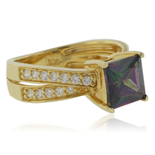 December Birthstone Mystic Topaz Gold Plated Ring