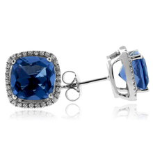 Cushion Cut Blue Topaz Framed Silver Earrings