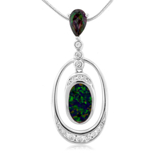 Mystic Topaz with Green Opal Silver Drop Pendant
