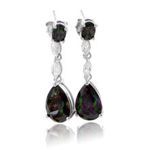 2 Stone Mystic Topaz Silver Drop Earrings