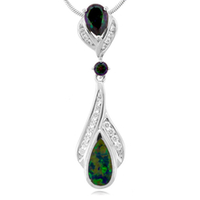 Elegant Pear Cut Topaz with Green Opal Silver Drop Pendant