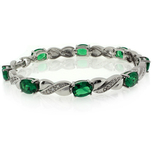 Oval Cut Emerald Stones Sterling Silver Fashion Bracelet