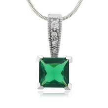 Green Emerald Charm Sterling Silver Pendant