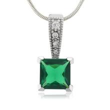 Princess Cut Emerald Charm .925 Silver Pendant