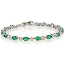 Oval Cut Emerald Gemstone Sterling Silver Bracelet