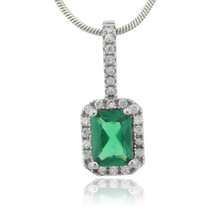 Green Emerald Charm Framed Sterling Silver Pendant