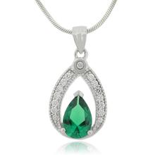 Pear Cut Emerald Charm .925 Silver Pendant