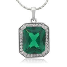 Huge Framed Emerald Sterling Silver Pendant