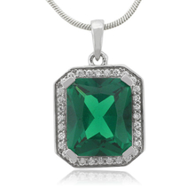 Huge Framed Emerald Sterling Silver Pendant