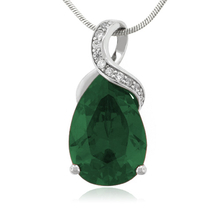 Emerald 27mm x 12mm Gemstone Silver Pendant