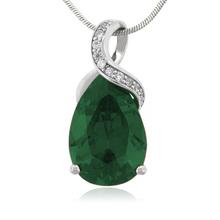 Emerald 27mm x 12mm Gemstone Silver Pendant