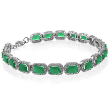 Emerald Cut Emerald Gemstone .925 Sterling Silver Bracelet