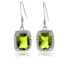Beautiful Emerald Cut Peridot .925 Silver Earrings