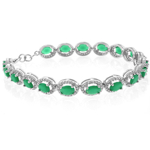 Gorgeous Oval Cut Emerald Sterling Silver Bracelet