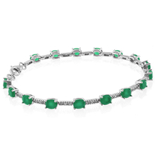 Beautiful Oval Cut Emerald Sterling Silver Bracelet