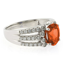 Beautiful Oval Cut Mexican Fire Opal Unisex Silver Ring