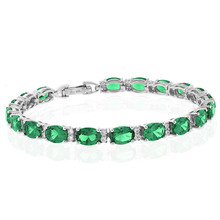 Oval Cut Emerald Gemstone .925 Sterling Silver Bracelet