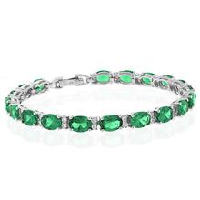 Oval Cut Emerald Gemstone .925 Sterling Silver Bracelet