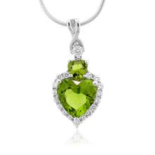 Beautiful Peridot Heart Shape Silver Pendant