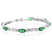 Marquise Cut Emerald Stones Sterling Silver Fashion Bracelet