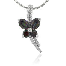 Mystic Fire Topaz Butterfly Silver Pendant
