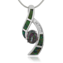 Oval Cut Mystic Topaz and Australian Opal Silver Pendant