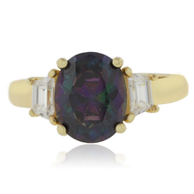 Oval Cut Mystic Topaz Silver Gold Plated Ring