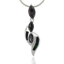3 Stone Caribbean Topaz and Australian Opal Silver Cross Pendant